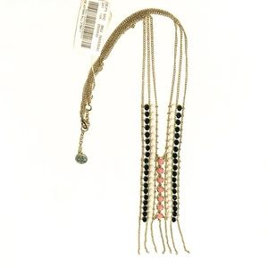 New Tags Long Coral Black White Tassel Necklace